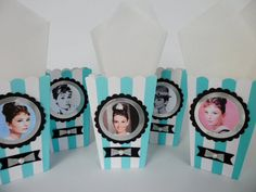 Audrey Hepburn party favors, goodie bags, popcorn boxes,  breakfast at Tiffany's, bachlorette, sweet sixteen, &birthday party, girls night