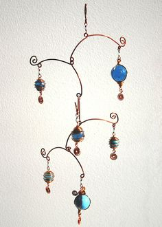 Hanging Mobile Stairs Sky - hanging mobiles - wire art - blue glass, copper wire, blue beads, hanging art, metal art