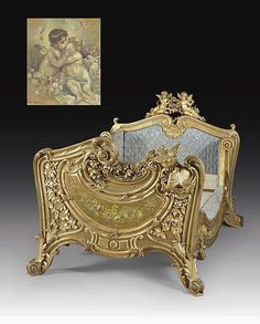 A FRENCH GILTWOOD AND POLYCHROME-PAINTED BED