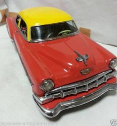 Rare-Japanese-Antique-Vintage-Red-Chevrolet-1954-Limited-Edition-Tin-Toy Tin Toys, Chevrolet, Japanese, Cars, Antiques, Red, Ebay, Vintage, Antiquities
