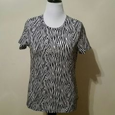 Michael Kors t-shirt Black and white zebra print with Michael Kors logo in rhinestones.  Soft and stretchy 95% cotton, 5% spandex. MICHAEL Michael Kors Tops Tees - Short Sleeve