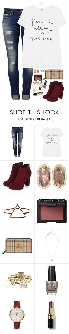 """I'm always gonna be in love with you"" by kaley-ii ❤ liked on Polyvore featuring Mavi, Sundry, Kendra Scott, NARS Cosmetics, Burberry, Kate Spade, OPI, FOSSIL, Bobbi Brown Cosmetics and Betsey Johnson"