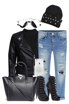 """""""Untitled #470"""" by claudiadessi on Polyvore featuring Sisters Point, Gucci, Valentino, women's clothing, women's fashion, women, female, woman, misses and juniors"""