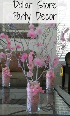 Dollar Store decorating.Great for a baby shower, these center pieces were bought…