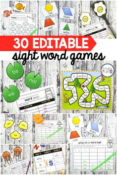 30 EDITABLE Sight Word Games! One of my favorite TPT purchases ever. Use them as word work stations, literacy centers... the sky's the limit because you just type in new words and hit print. #firstgrade #kindergarten #sightwordgames #iteachfirst #iteachkinder #literacycenters