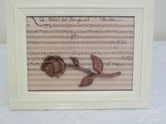 Painted frame with rose and music