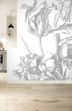 Engraved Flowers 331 Wall Mural by KEK Amsterdam Engraved Flowers 331 Wall Mural by KEK Amsterdam BURKE DECOR The post Engraved Flowers 331 Wall Mural by KEK Amsterdam appeared first on Slaapkamer ideeën. Bathroom Mural, Bedroom Murals, Large Wall Murals, Mural Wall Art, Painted Wall Murals, Mural Painting, Flower Mural, Black And White Flowers, Burke Decor