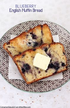 "A savory ""English muffin"" bread speckled with blueberries that was perfectly made for toasting."