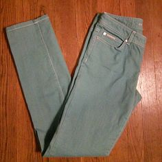 """Michael Kors Turquoise Jeans 31"""" inseam, 28"""" waist.  98% cotton, 2% spandex. Excellent condition. MK in white studs on back pockets. Michael Kors Jeans Straight Leg"""