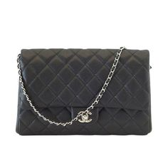 Guaranteed authenticCHANEL flap bag flat clutch convertible to shoulder bag.Jet black in caviar leather with...available mightychic.com