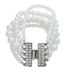 The perfect pearl bracelet! Pearl and crystal bracelet, crystal clasp bracelet, 1920s jewelry, 1920s, jazz age, jazz age jewelry, Great Gatbsy jewelry, Great Gatsby glam, Ben Amun, Thomas Laine.