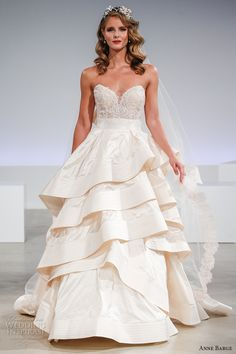 ANNE BARGE fall 2017 bridal strapless sweetheart neckline heavily embellished bodice sexy princess tiered skirt ivory color ball gown a  line wedding dress sweep train (amelia) mv #bridal #wedding #weddingdress #weddinggown #bridalgown #dreamgown #dreamdress #engaged #inspiration #bridalinspiration #weddinginspiration #ballgown #romantic #blush #weddingdresses