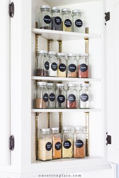 Tips for baking cabinet organization & spice storage ideas that anyone can use. Transform your cabinets into functional and accessible spaces!
