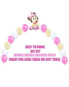 Baby Minnie Mouse Balloon Arch Party Decoration  Do It Yourself KIT easy to assemble  Includes: 1 -XL Foil Balloon 14 - 11 Latex Balloons Fishing Line Easy to follow instructions  Great for Birthday Party! Please note that balloons do not ship inflated. You need helium.  SHIPPING TIME: USPS First class mail approx 7 - 8 business days USPS Priority mail approx 2 - 3 business days USPS Express mail approx 1 - 2 business days