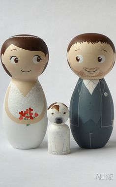 Topos de Bolo Noivinhos de Madeira Personalizados com cachorrinho!