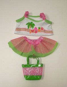 """Teddy Bear GIRLS HAWAIIAN Outfit Fit 14""""-18"""" Build-a-bear, The Bear Factory #TheBearFactory #AllOccasion Teddy Bear Costume, Friend Outfits, Build A Bear, Hawaiian, Workshop, Costumes, Summer Dresses, Friends, Fitness"""