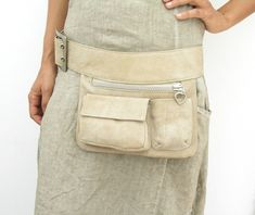 Beige Leather Hip Bag, bum bag, fanny pack, travel pouch by ruthkraus. Explore more products on http://ruthkraus.etsy.com