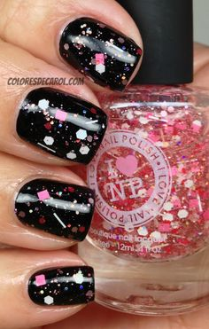 From I Love Nail Polish - Animal Cookie - a wonderful pink/white/red glitter in a clear base - shown here over black cream