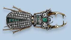 ANTIQUE EMERALD AND DIAMOND INSECT BROOCH