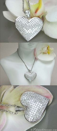 TOP-CLASS DIAMOND HEART PENDANT, 3,99 cts., G-SI, WG-18K -- Find out: schmucktraeume.com -- Visit us on FB: https://www.facebook.com/pages/Noble-Juwelen/150871984924926 -- Any questions? Contact us: info@schmucktraeume.com