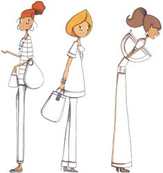 Mad'moiselle C , illustratrice, agence Marie Bastille @Mad'moiselle C .      // cette image appartient à son auteur et/ou l'agence Marie Bastille + d'infos sur le site // Girly, Illustrations, Bastille, Digi Stamps, Fashion Sketches, Sketching, Girlfriends, Sisters, Scrap