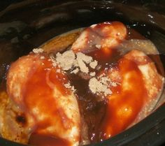Crockpot Barbecue Chicken---- (1) 12 oz. jar of Barbecue sauce ½ cup Italian dressing 2 tbsp. brown sugar a few shakes of Worcestershire sauce 1 and ½ lbs of Boneless Skinless Chicken Breast