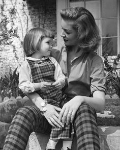 Lauren Bacall and daughter, Leslie Howard Bogart. She was named after Humphrey Bogart's old friend, Leslie Howard who was killed during WW2.