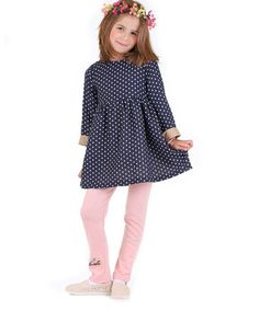Another great find on #zulily! Navy Square Dress & Pink Leggings - Toddler & Girls #zulilyfinds