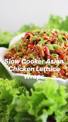 Easy Chicken Lettuce Wraps, Lettuce Wrap Recipes, Easy Chicken Recipes, Asian Recipes, Healthy Recipes, Thai Recipes, Slow Cooker Recipes, Cooking Recipes, Crockpot Recipes