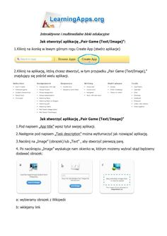 """Pdf - LearningApps - jak stworzyć ćwiczenie - """"dopasuj napis do obrazka"""""""