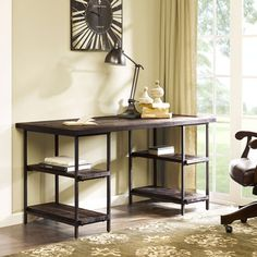 @Overstock - Renate Desk in Coffee Finish - This lovely desk is framed in durable metal and its wood construction features a reclaimed wood finish for a rustic look. Four convenient shelves are fitted in the open space near the bottom corners.  http://www.overstock.com/Home-Garden/Renate-Desk-in-Coffee-Finish/8448126/product.html?CID=214117 $449.99