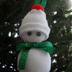 Baby Sock Snowman Ornament.  Adorable!