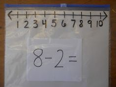 This is awesome!  Use a Ziploc slider bag for basic addition/subtraction!  Use this instead of drawing a line to the number.