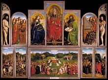 Belgium - the Ghent Altarpiece:the adoration of the mystic lamb, painted 1432 by van Eyce