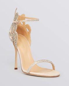 Sergio Rossi Ankle Strap Evening Sandals - Matisse Filigree High Heel
