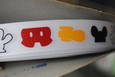 7/8 grosgrain printed ribbon  5 yards  Mickey Mouse by RockerBoo, $6.75