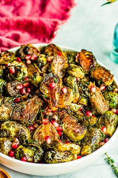 Balsamic Glazed Brussels Sprouts with Pomegranate Seeds