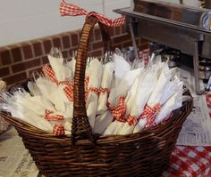 Napkins tied with red and white gingham ribbon for BBQ or informal party. Napkins tied with red and white gingham ribbon for BBQ or informal party. Napkins tied with red and white gingham ribbon for BBQ or informal party. Soirée Bbq, I Do Bbq, Barbeque Wedding, Bbq Decorations, Picnic Party Decorations, Picnic Table Centerpieces, Wedding Decorations, Baby Q Shower, Baby Shower Barbeque