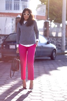 Zara Pink Trousers, Zara Sweater, Zara Bag, Zara Pumps
