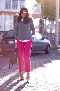 Zara Pink Trousers, Zara Sweater, Zara Bag, Zara Pumps