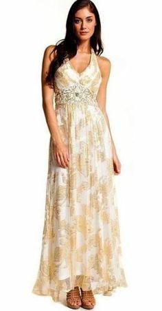 ad2c41589f SUE WONG Ivory Gold Beaded Sequin Wedding Bridal Evening Maxi Dress 4
