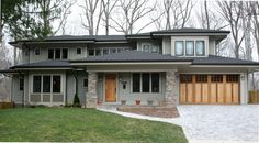 Bethesda Bungalows is a custom home builder and home improvement contractor specializing in high performance bungalows, Arts Crafts and Prairie-style homes. Exterior House Colors, Exterior Design, Modern Exterior, Exterior Paint, Praire Style Homes, Garage Design, House Design, Indoor Outdoor, Outdoor Living