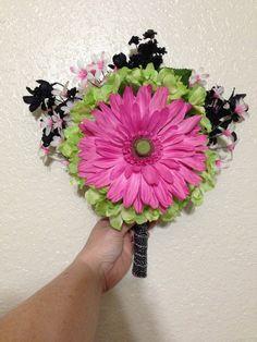 Daisy Wedding Bouquet, Hydrangea Bridal Bouquet, Pink and Green Silk Bridal Bouquet, Gerbera Daisy Bouquet, Wedding Flowers, $84
