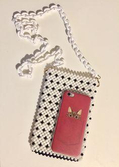 Handmade Black White Acrylic Beaded Sling Crossbody Clubbing Bag with Acrylic Chain Strap LooMee Beaded Bag