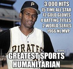 One of Puerto Rico's finest, Roberto Clemente. A true humanitarian...and a great baseball player who died bringing a plane full of aid goods to central America in 1972. He won the world series MVP award in 1971.