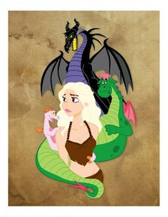 Daenerys Targaryen as a Disney Princess by Mona Collentine. So far only in T-shirt form, but I would LOVE a print of this.