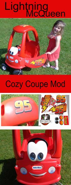 I HAVE to do this to Wyatt's cozy coue we got him for his birthday!!! he LOVES lightning mcqueen! Lightning McQueen Little Tikes Cozy Coupe Mod, with new decals.