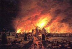 Big fire of 1654 in the Dutch village De Rijp by Egbert van der Poel