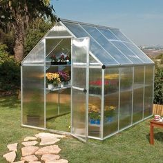 Palram 6' x 8' Mythos Silver Polycarbonate Greenhouse - http://www.sheds.co.uk/palram-6x8-mythos-silver-polycarbonate-greenhouse.html