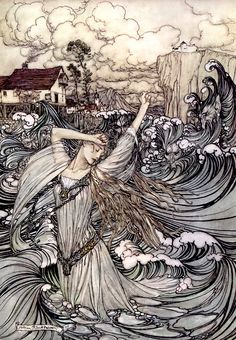 Arthur Rackham, in a moment she was lost in the Danube